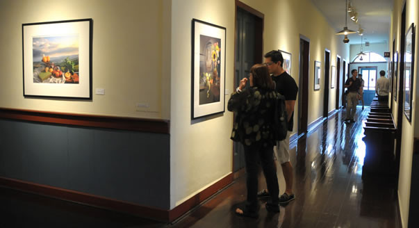 Visitors admiring artwork in the Ursuline Hall Gallery